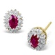 Ruby 5 x 3mm And Diamond 18K Yellow Gold Earrings - image 1