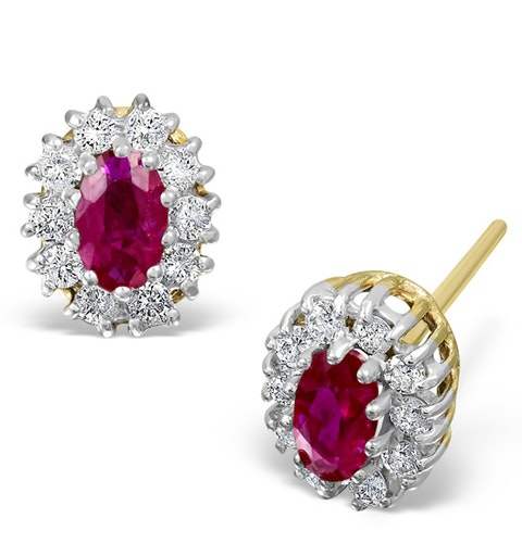 Ruby 0.32CT And Diamond 9K Yellow Gold Earrings - image 1