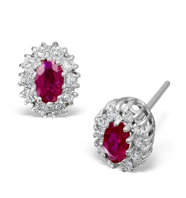 Ruby 5 x 3mm And Diamond 18K White Gold Earrings - image 1