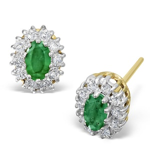 Emerald 0.21CT And Diamond 9K Yellow Gold Earrings