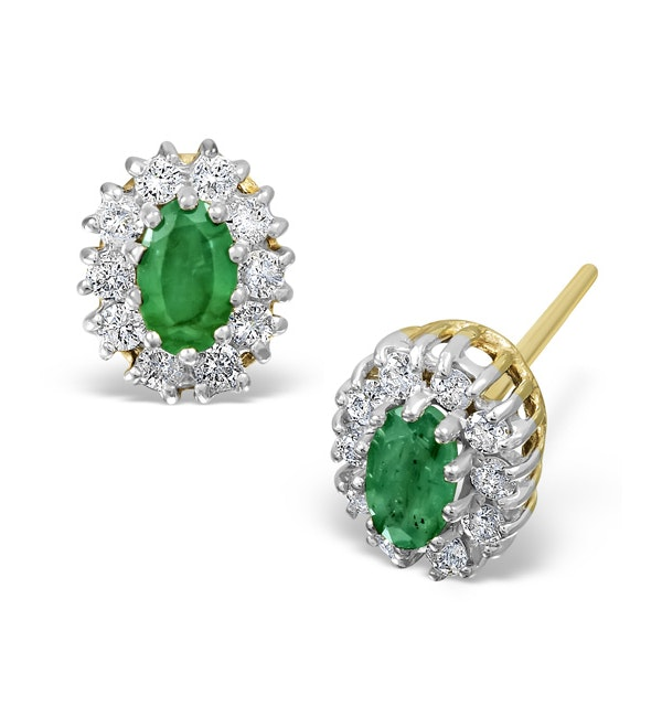 Emerald 0.21CT And Diamond 9K Yellow Gold Earrings - image 1