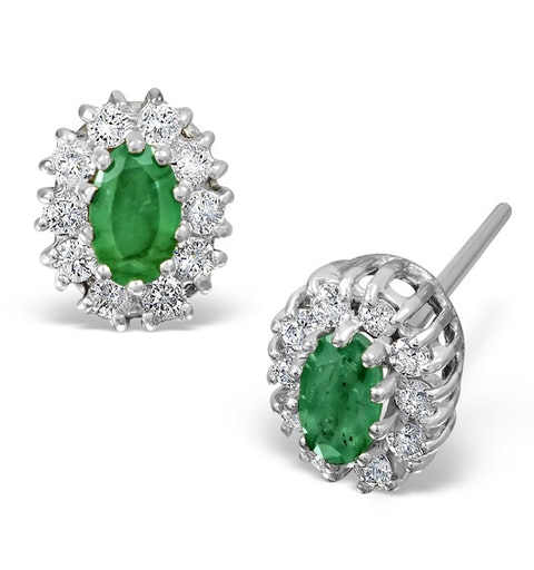 Emerald 5 x 3mm And Diamond 9K White Gold Earrings Item FEG26-GY - image 1