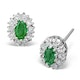 Emerald 5 x 3mm And Diamond 9K White Gold Earrings - image 1