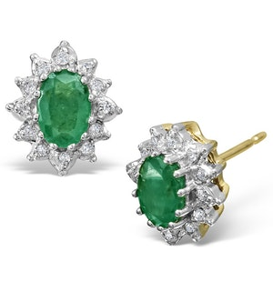 Emerald 6 x 4mm And Diamond Cluster 9K Yellow Gold Earrings B3689