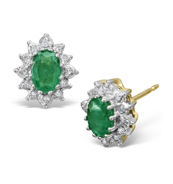 Emerald 6 x 4mm And Diamond 9K Yellow Gold Earrings  B3689 - image 1