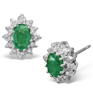 Emerald 6 x 4mm And Diamond Cluster 9K White Gold Earrings