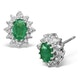 Emerald 6 x 4mm And Diamond 9K White Gold Earrings - image 1