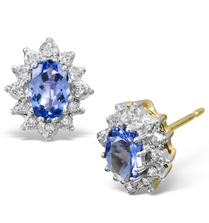 Tanzanite 6 x 4mm And Diamond Cluster 9K Gold Earrings  B3680