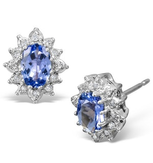 Tanzanite 6 x 4mm And Diamond Cluster 9K White Gold Earrings