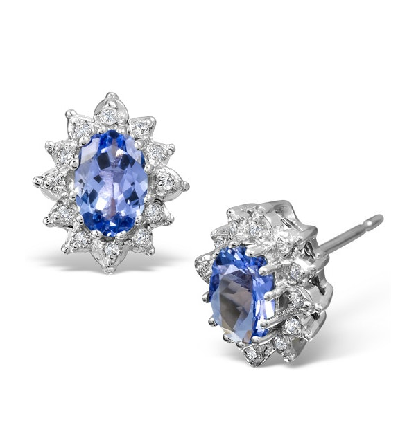 Tanzanite 6 x 4mm And Diamond 9K White Gold Earrings - image 1