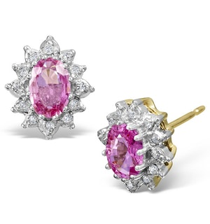 Pink Sapphire 6 X 4mm and Diamond Cluster 9K Gold Earrings