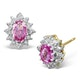 Pink Sapphire 6 X 4mm and Diamond 9K Yellow Gold Earrings - image 1