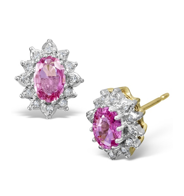 Pink Sapphire 6 X 4mm and Diamond Cluster 9K Gold Earrings - image 1