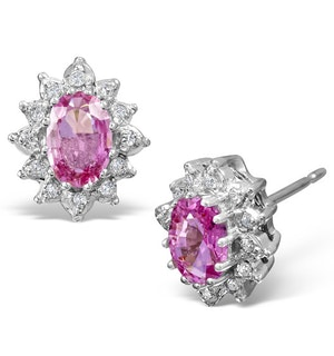 Pink Sapphire 6 X 4mm and Diamond Cluster 9K White Gold Earrings