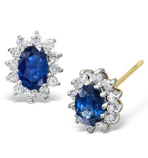Sapphire 6mm x 4mm And Diamond 18K Yellow Gold Earrings