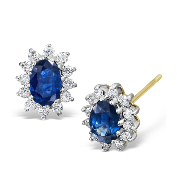 Sapphire 6mm x 4mm And Diamond 18K Yellow Gold Earrings - image 1
