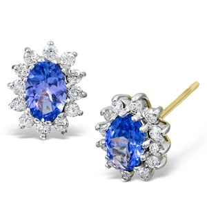 Tanzanite 6 x 4mm And Diamond 18K Yellow Gold Earrings