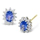 Tanzanite 6 x 4mm And Diamond 18K Yellow Gold Earrings - image 1