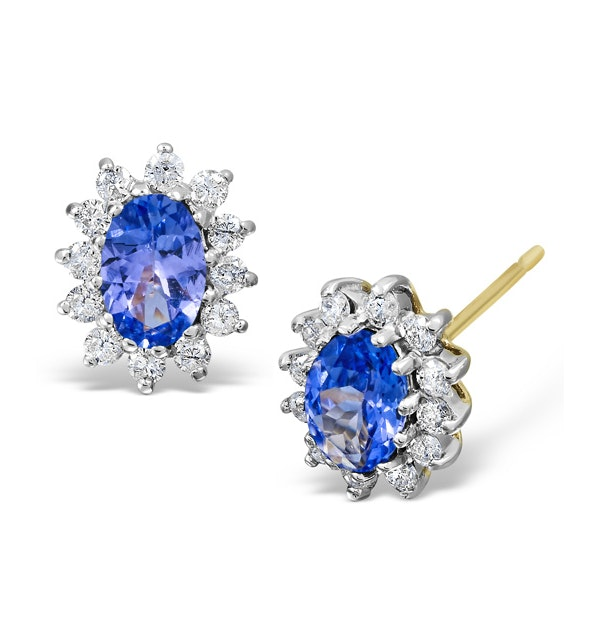 Tanzanite 6 x 4mm And Diamond 9K Yellow Gold Earrings - image 1