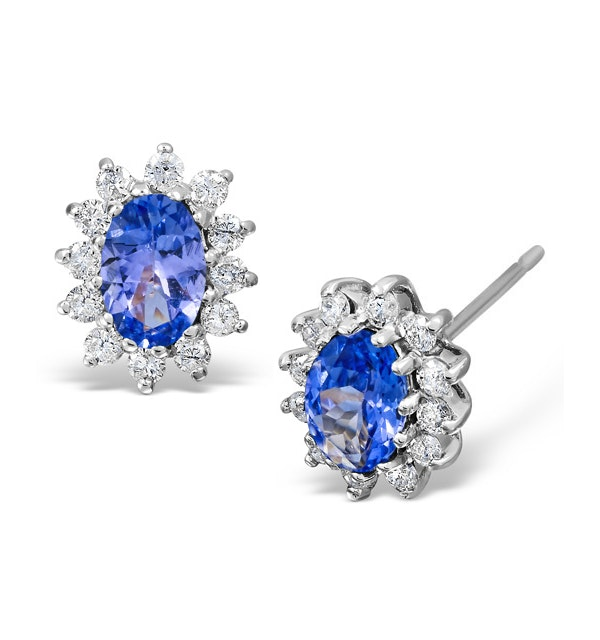 Tanzanite 6 x 4mm And Diamond 9K White Gold Earrings  B3699 - image 1