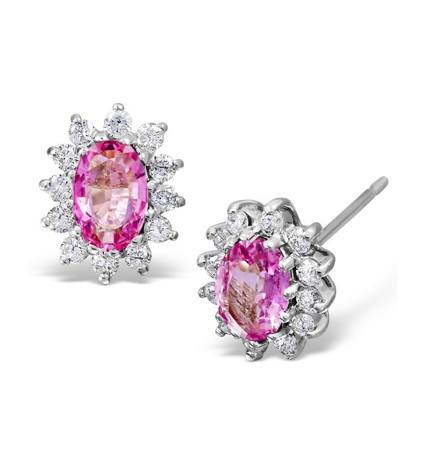 Pink Sapphire 6 X 4mm and Diamond 18K White Gold Earrings Feg27-Ruy - image 1
