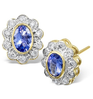 Tanzanite 6 x 4mm And Diamond 9K Yellow Gold Earrings  B3695
