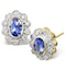 Tanzanite 6 x 4mm And Diamond 18K Gold Earrings - image 1