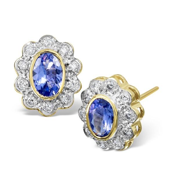 Tanzanite 6 x 4mm And Diamond 18K Gold Earrings - image 1
