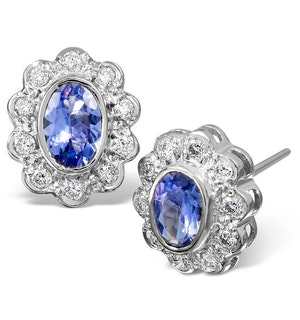 Tanzanite 6 x 4mm And Diamond 9K White Gold Earrings  B3602