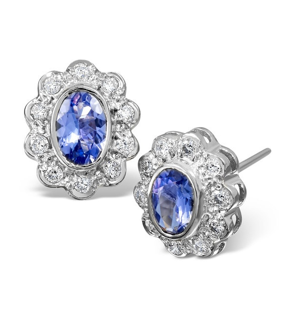 Tanzanite 6 x 4mm And Diamond 9K White Gold Earrings  B3602 - image 1