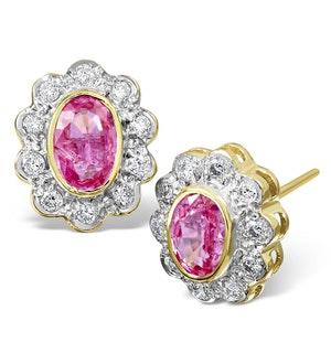 Pink Sapphire 6 X 4mm and Diamond 9K Yellow Gold Earrings B3696