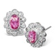 Pink Sapphire 6 X 4mm and Diamond 9K White Gold Earrings B3603 - image 1
