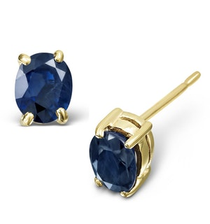 Sapphire 5mm x 4mm 18K Yellow Gold Earrings