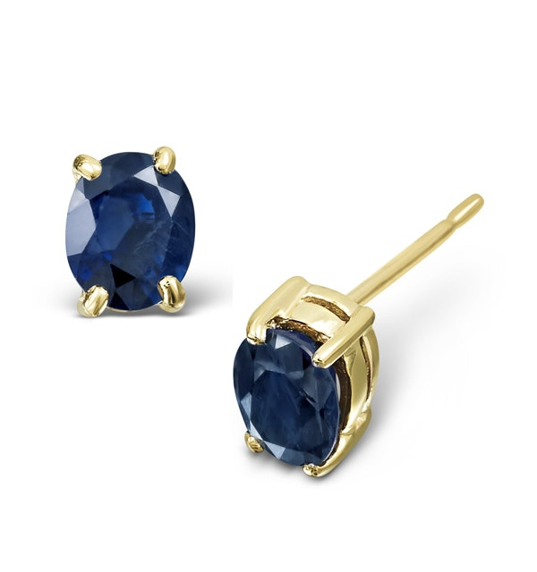 Sapphire 5mm x 4mm 18K Yellow Gold Earrings - image 1