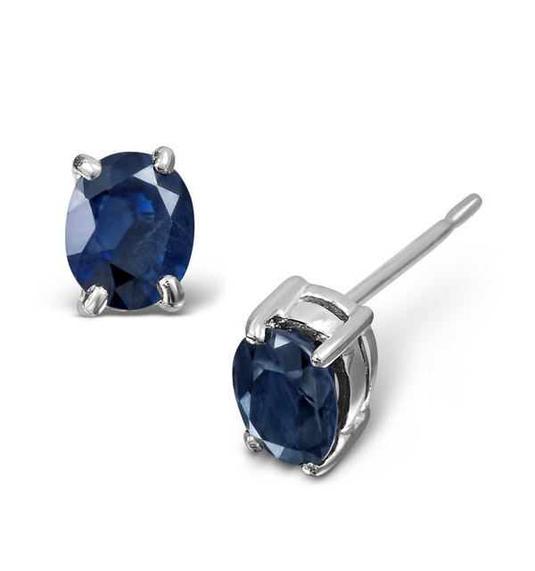 Sapphire 5mm x 4mm 9K White Gold Earrings - image 1
