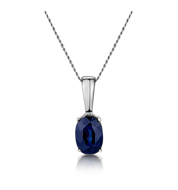 Sapphire 7 x 5 mm 9K White Gold Pendant Necklace - image 1