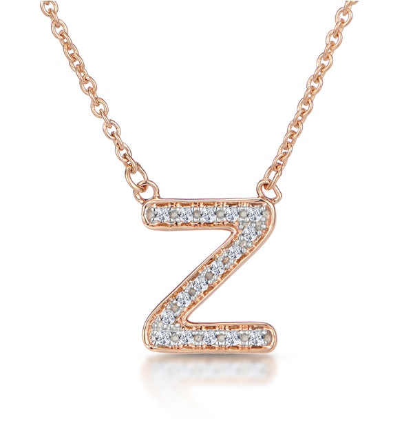 Initial 'Z' Necklace Diamond Encrusted Pave Set in 9K Rose Gold - image 1