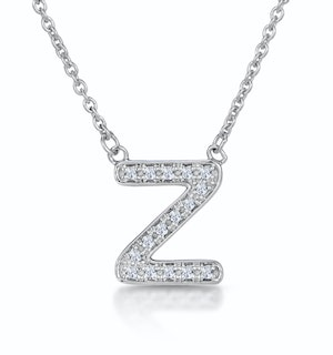 Initial 'Z' Necklace Diamond Encrusted Pave Set in 9K White Gold