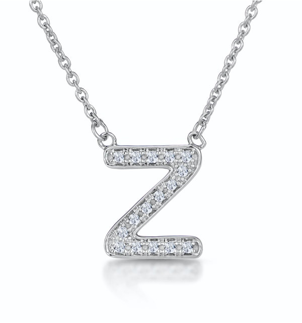 Initial 'Z' Necklace Diamond Encrusted Pave Set in 9K White Gold - image 1