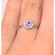 Pink Sapphire and 0.07ct Diamond Ring 9K White Gold - image 4