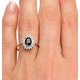 Sapphire 7 x 5mm And Diamond 9K Gold Ring - image 3