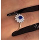 Sapphire 6 x 4mm And Diamond 9K Gold Ring  A3245 - image 3