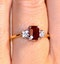 Ruby 6 x 4mm And Diamond 9K Gold Ring  A4334 - image 4
