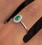 Emerald 6 x 4mm And Diamond 9K White Gold Ring Item A4434 - image 4