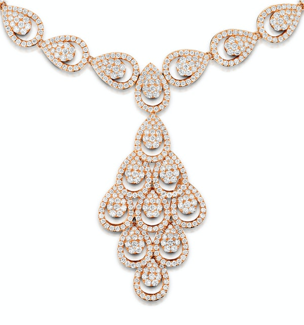 Diamond Necklace Pyrus Chandelier 12.60ct H/Si Diamonds 18K Rose Gold - image 1