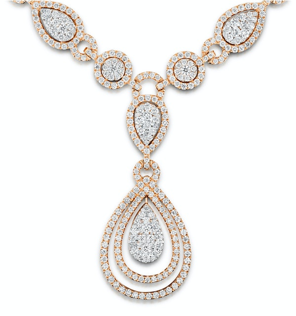 Diamond Necklace Pyrus Halo 11.00ct in 18K Rose Gold - image 1