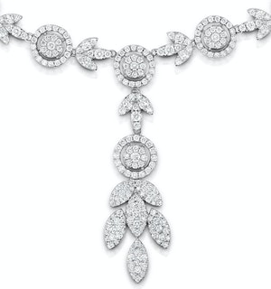 Diamond Necklace Vintage Halo 8.30ct H/Si in 18K White Gold