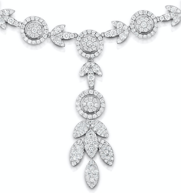 Diamond Necklace Vintage Halo 8.30ct H/Si in 18K White Gold - image 1
