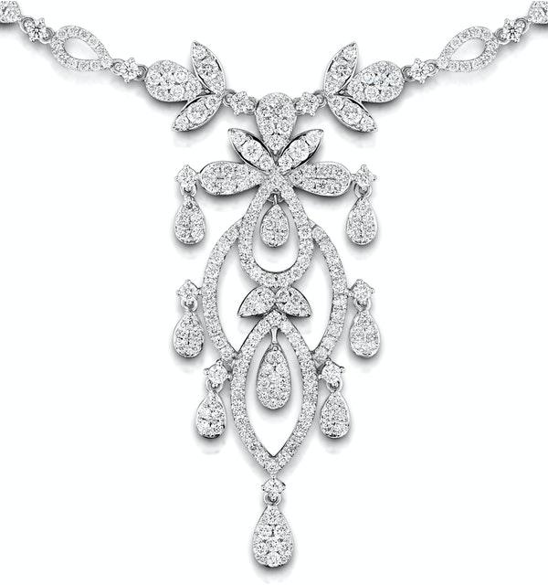 Diamond Necklace Vintage Pyrus 9.00ct H/Si Diamonds in 18K White Gold - image 1