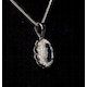 Sapphire 6 x 4 mm And Diamond 9K White Gold Pendant - image 2